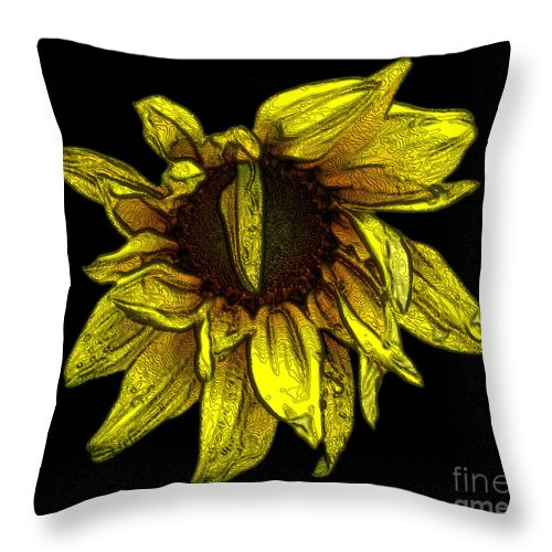 Sunflowers Throw Pillow featuring the photograph Sunflower With Contours Effect by Rose Santuci-Sofranko