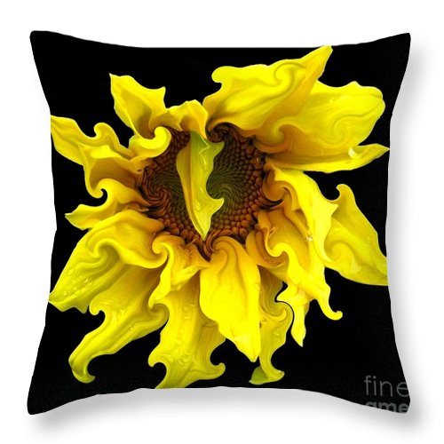 Sunflowers Throw Pillow featuring the photograph Sunflower With Curlicues Effect by Rose Santuci-Sofranko