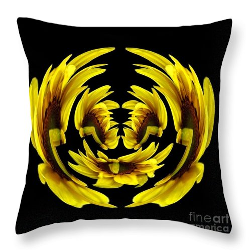 Polar Coordinates Throw Pillow featuring the photograph Sunflower With Warp And Polar Coordinates Effects by Rose Santuci-Sofranko