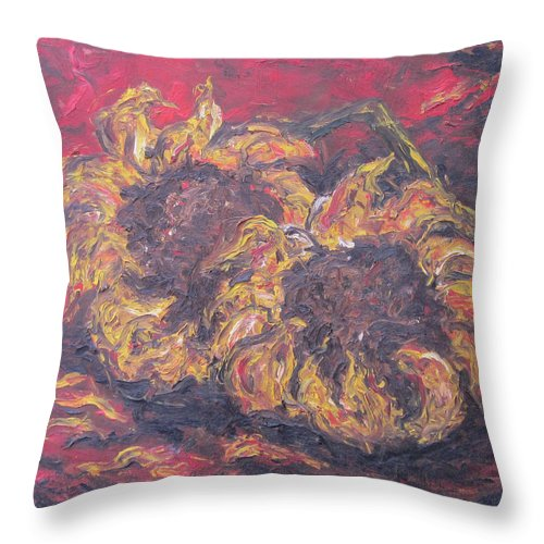 Flowers Throw Pillow featuring the painting Sunflowers 2 - Ode To Van Gogh by Cheryl Pettigrew