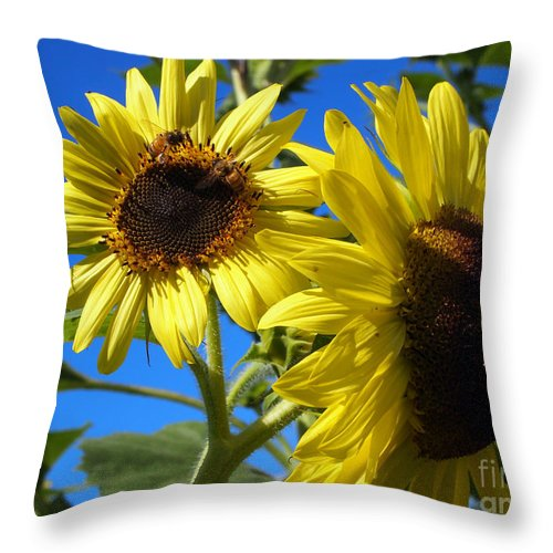 Sunflower Art Throw Pillow featuring the photograph Sunflowers Abound by Deborah Fay