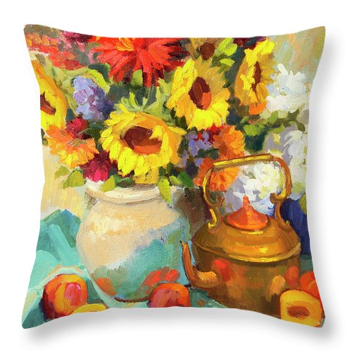 Sunflowers And Copper Throw Pillow featuring the painting Sunflowers And Copper by Diane McClary