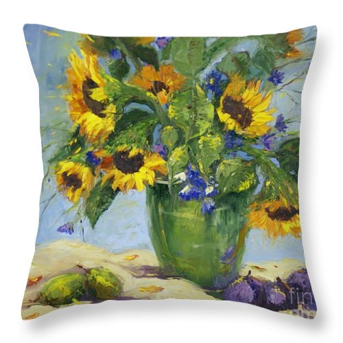 Sunflowers And Cornflowers Throw Pillow For Sale By Jorunn Kristiansen Coe