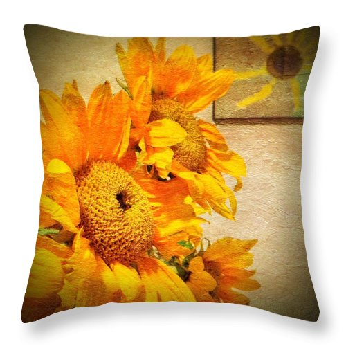 Sunflowers Throw Pillow featuring the photograph Sunflowers And The Sun by Anne Thurston