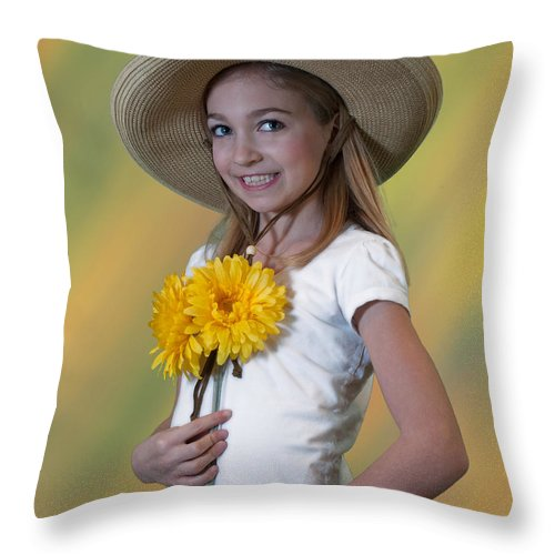 Throw Pillow featuring the photograph Sunflowers by Photos By Cassandra