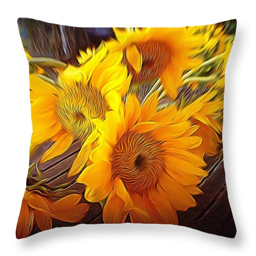 Sunflowers Throw Pillow featuring the photograph Sunflowers In December by Anne Thurston