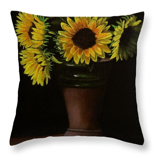 Sunflowers Throw Pillow featuring the painting Sunflowers In Vase by Paul Tremlin