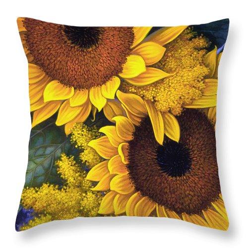 Botanical Throw Pillow featuring the painting Sunflowers by Mia Tavonatti