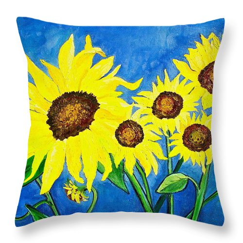 Sunflower Throw Pillow featuring the painting Sunflowers by Virginia Ann Hemingson