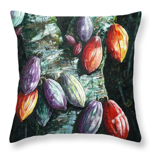 Caribbean Paintings Cocoa Fruit Paintings Tree Paintings Cocoa Paintings Chocolate Tree Paintings  Fruit Pods Paintings  Tropical Paintings Greeting Card Paintings Canvas Prints Paintings Poster Print Paintings  Throw Pillow featuring the painting Sunlight And Chocolate by Karin Dawn Kelshall- Best
