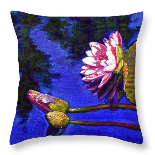 Water Lily Throw Pillow featuring the painting Sunlight On Pink by John Lautermilch