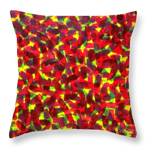Abstract Throw Pillow featuring the painting Sunlight Through The Trees by Dean Triolo