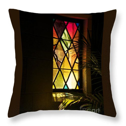 Window Throw Pillow featuring the photograph Sunlit Chapel by Ann Horn
