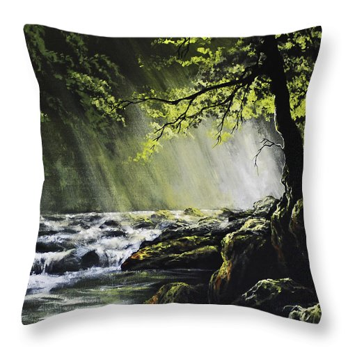 Waterfall Throw Pillow featuring the painting Sunlit Dream by Marco Antonio Aguilar