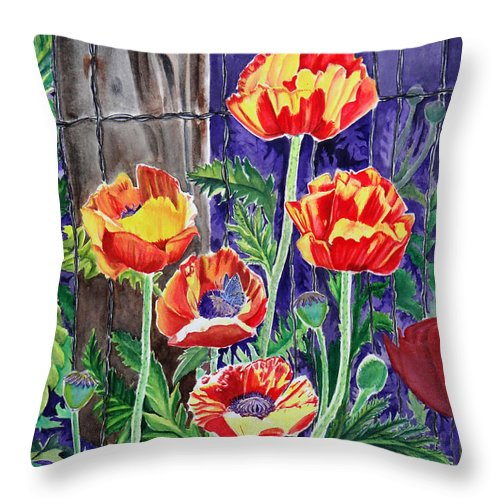 Poppy Throw Pillow featuring the painting Sunlit Poppies by Heather Stinnett