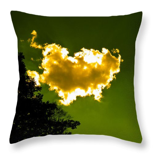 Yellow Throw Pillow featuring the photograph Sunlit Yellow Cloud by Nick Kirby