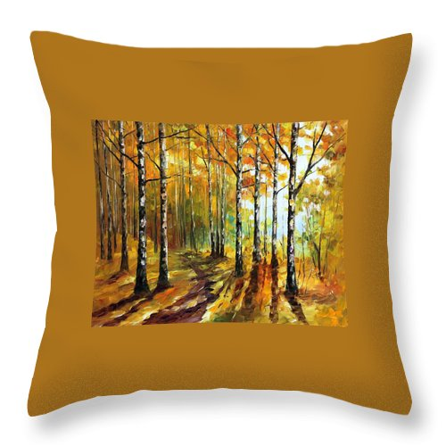Oil Paintings Throw Pillow featuring the painting Sunny Birches - Palette Knife Oil Painting On Canvas By Leonid Afremov by Leonid Afremov