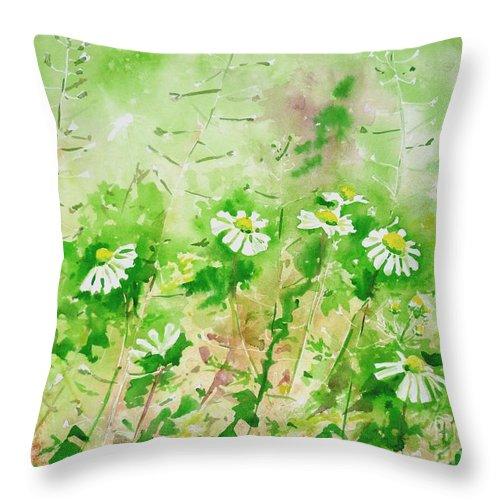 Sunny Throw Pillow featuring the painting Sunny Daisies by Zaira Dzhaubaeva