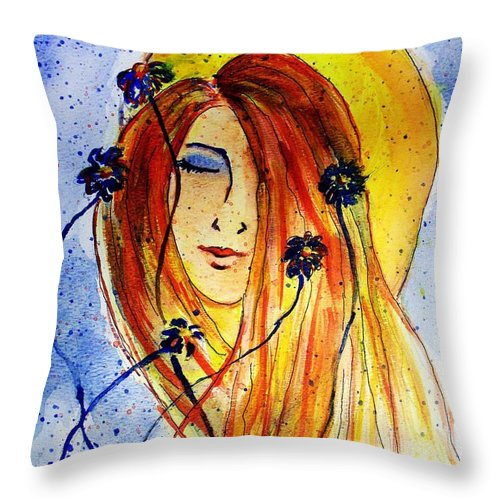 Face Throw Pillow featuring the painting Sunny Disposition by Robin Monroe