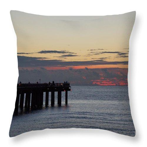 Sunrise Throw Pillow featuring the photograph Sunny Isles Fishing Pier Sunrise by Rafael Salazar