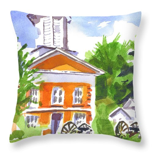 Sunny Morning At The Courthouse Throw Pillow featuring the painting Sunny Morning On The City Square by Kip DeVore