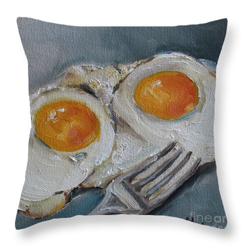 Eggs Throw Pillow featuring the painting Sunny Side Up by Kristine Kainer