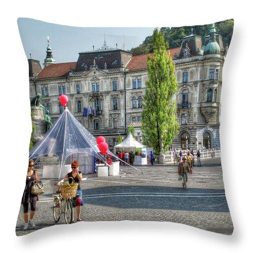 Jubljana Throw Pillow featuring the photograph Sunny Slovenia by Douglas J Fisher