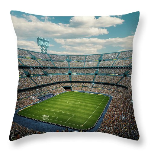 Event Throw Pillow featuring the photograph Sunny Soccer Stadium Panorama by Dmytro Aksonov