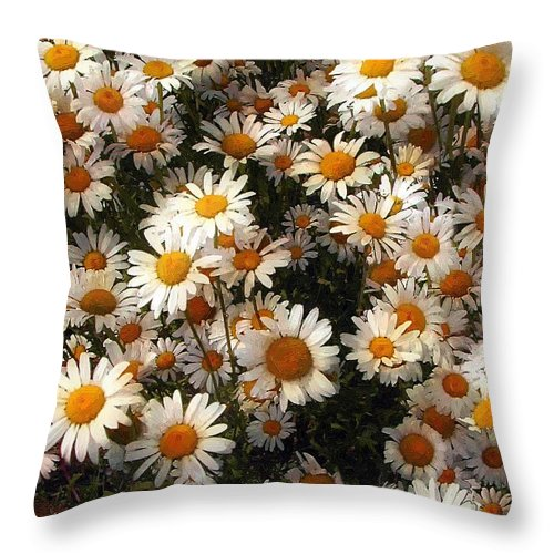 Daisies Throw Pillow featuring the painting Sunnyside Up by RC DeWinter