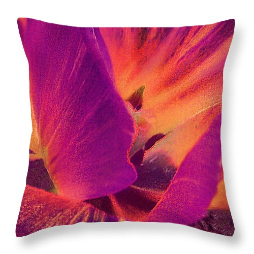 Flower Close Up Throw Pillow featuring the digital art Sunray Flower Abstract by Muriel Levison Goodwin