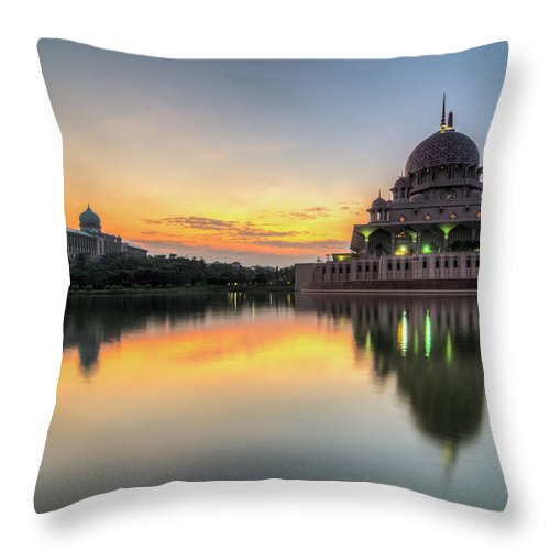 Tranquility Throw Pillow featuring the photograph Sunrise   Masjid Putra, Putrajaya   Hdr by Mohamad Zaidi Photography