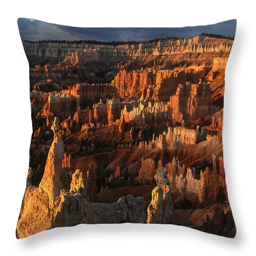 Bryce Canyon Throw Pillow featuring the photograph Sunrise At Bryce Canyon by Sandra Bronstein