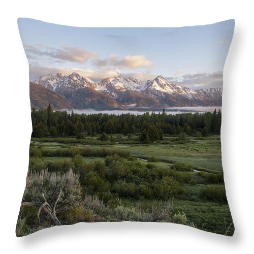 Sunrise At Grand Teton National Park Brian Harig Throw Pillow featuring the photograph Sunrise At Grand Teton by Brian Harig