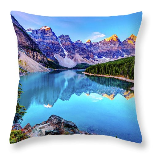 Tranquility Throw Pillow featuring the photograph Sunrise At Moraine Lake by Wan Ru Chen