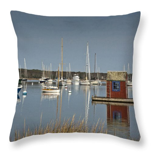 Boat Throw Pillow featuring the photograph Sunrise At Red Brook Harbor 2 by Dennis Coates
