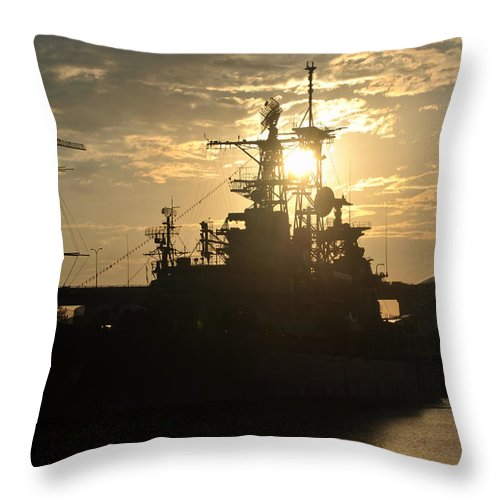 Sunrise Throw Pillow featuring the photograph Sunrise At The Naval Base Silhouette Erie Basin Marina V1 by Michael Frank Jr
