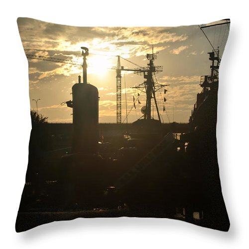 Sunrise Throw Pillow featuring the photograph Sunrise At The Naval Base Silhouette Erie Basin Marina V4 by Michael Frank Jr