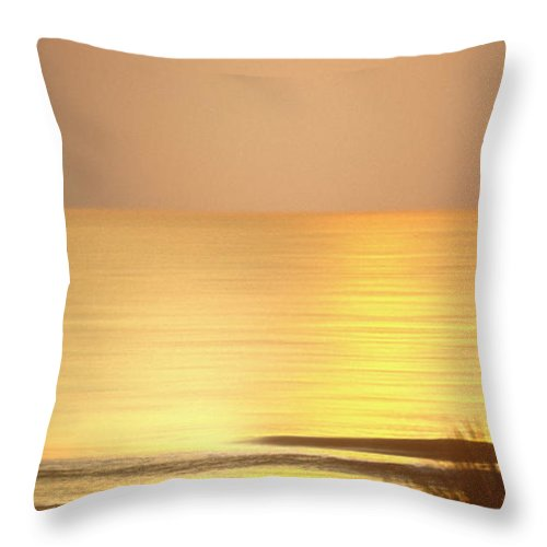 North Carolina Sunrise Throw Pillow featuring the photograph Sunrise At Topsail Island Panoramic by Mike McGlothlen