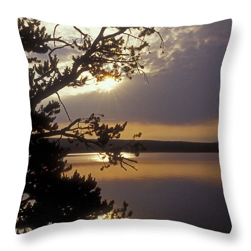 Yellowstone Throw Pillow featuring the photograph Sunrise At Yellowstone Lake by Sandra Bronstein