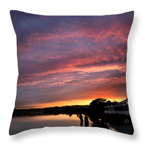 Bay.water.boats.dock. Throw Pillow featuring the photograph Sunrise Bay by Larry Lage