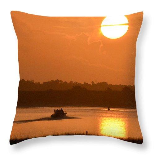 Sunrise Fishing Throw Pillow featuring the photograph Sunrise Fishing by Kerri Farley
