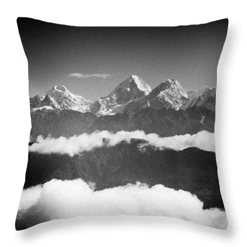 Gosaikunda Throw Pillow featuring the photograph Sunrise Himalayas Mountain Nepal Silhouette by Raimond Klavins
