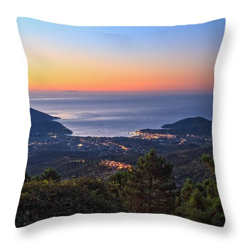 Elba Throw Pillow featuring the photograph sunrise in Elba island by Antonio Scarpi