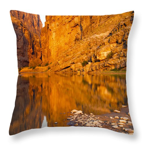 Santa Elena Canyon Big Bend National Park Texas Parks Canyons Rio Grande River Rivers Water Reflection Reflections Rock Rocks Stone Stones Landscape Landscapes Waterscape Waterscapes Landmark Landmarks Throw Pillow featuring the photograph Sunrise In The Santa Elena by Bob Phillips