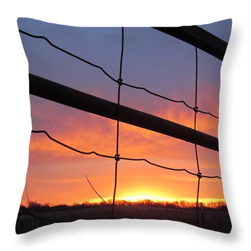 Fence Throw Pillow featuring the photograph Sunrise On Fence by Tina M Wenger