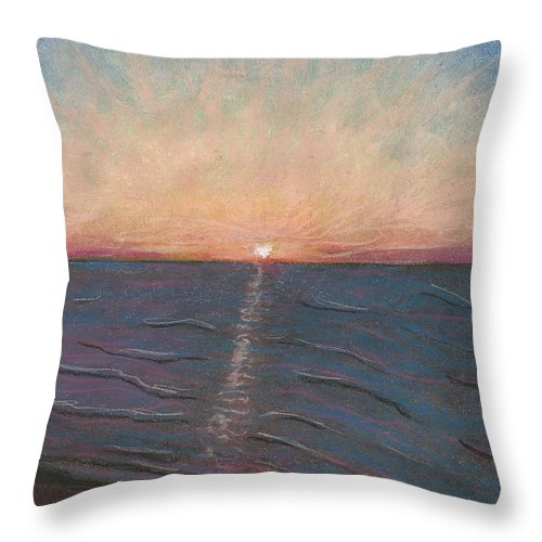 Sunrise On The Beach Throw Pillow featuring the pastel Sunrise On The Beach by Jami Cirotti