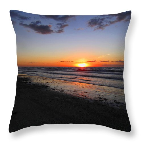 Sunrise Throw Pillow featuring the photograph Sunrise On The Gulf by Richard Booth