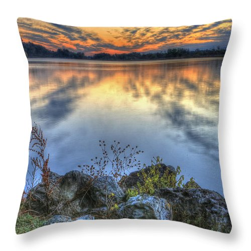 Lake Throw Pillow featuring the photograph Sunrise On The Lake by Jaki Miller