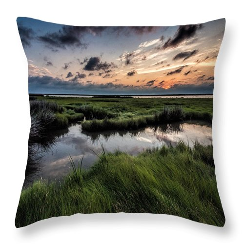 Sunrise Throw Pillow featuring the photograph Sunrise On The Marsh by David Kay