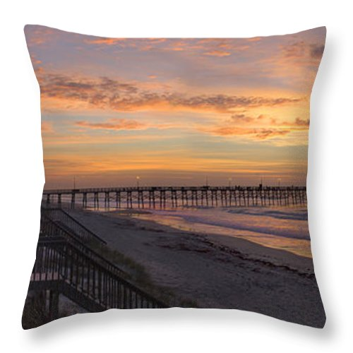 Fishing Pier Throw Pillow featuring the photograph Sunrise On Topsail Island Panoramic by Mike McGlothlen